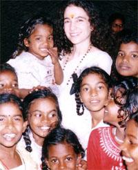 Sadhvi Bhagawati with Children at the Ashram