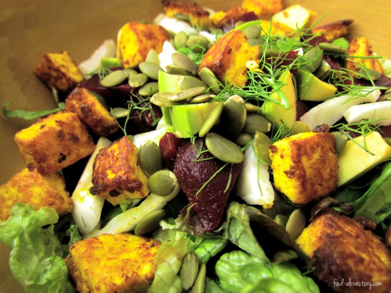 roasted turmeric tofu salad