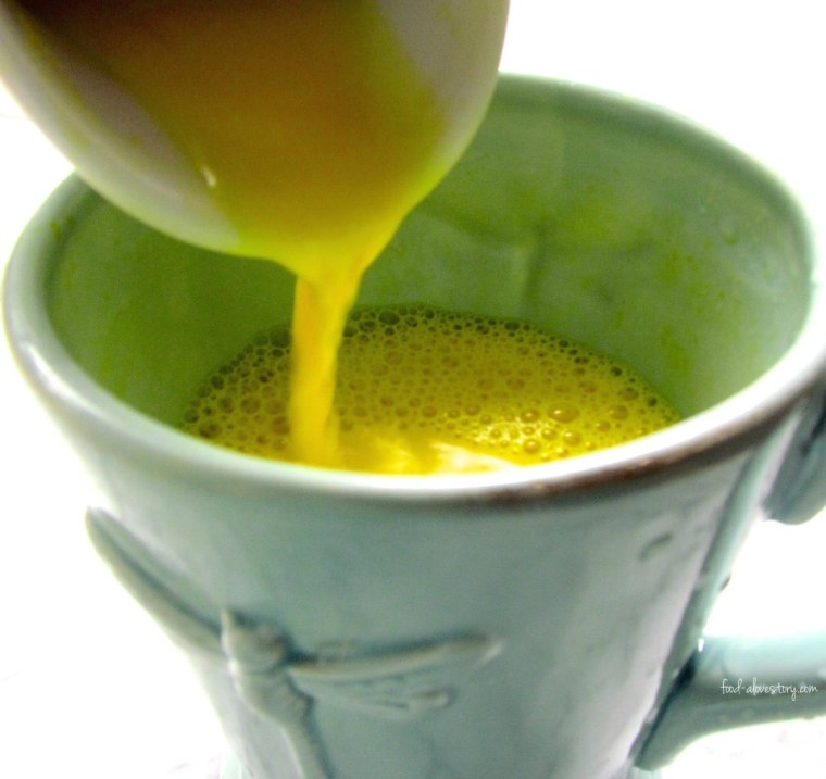Golden Milk made with fresh Turmeric root
