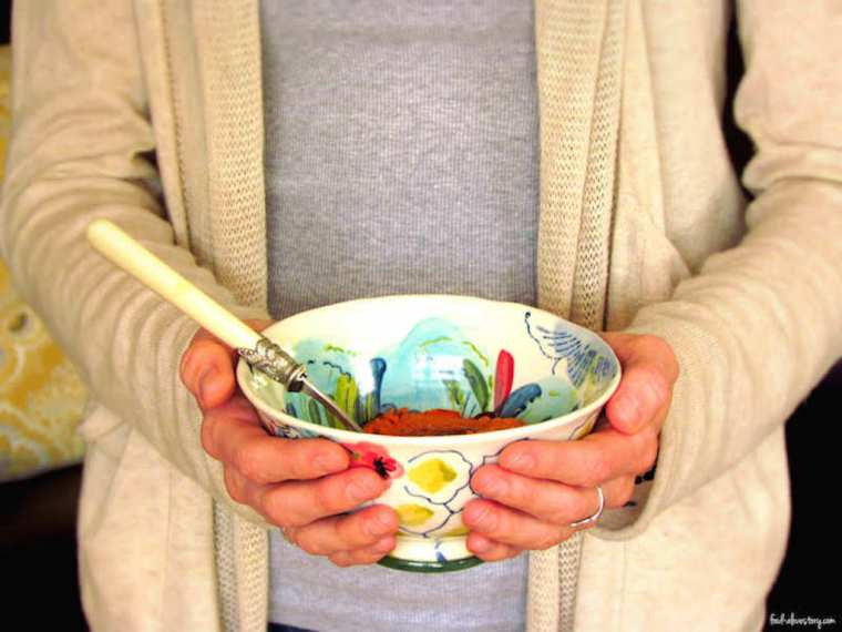 Morgan holding bowl