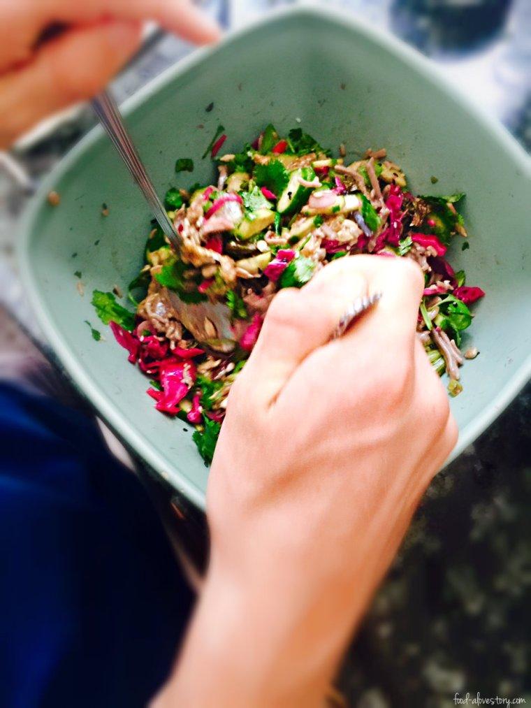 tossing salad