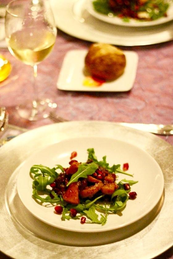 braised squash and cranberry arugula salad