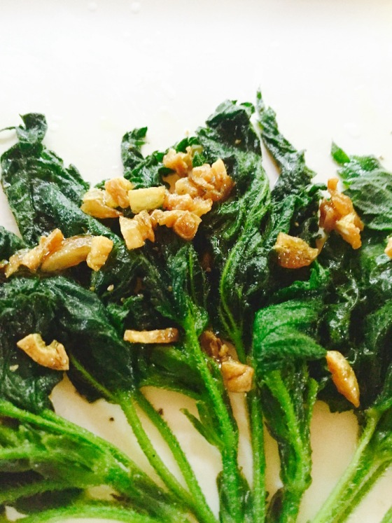 nettles with crunchy garlic